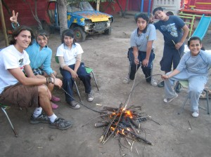 Me and the kids during the bonfire workshop
